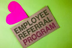 Conceptual hand writing showing Employee Referral Program. Business photo text strategy work encourage employers through prizes wr. Itten Cardboard Piece the stock image