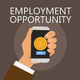 Conceptual hand writing showing Employment Opportunity. Business photo showcasing no Discrimination against Applicant Equal Policy.  vector illustration