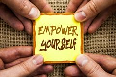 Conceptual hand writing showing Empower Yourself. Business photo showcasing Positive Motivation Advice For Personal Development wr. Itten Sticky Note Paper Stock Image