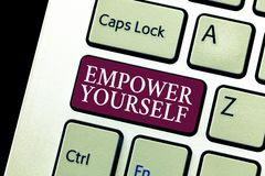 Conceptual hand writing showing Empower Yourself. Business photo text taking control of life setting goals positive choices.  Stock Images