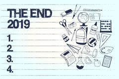 Conceptual hand writing showing The End 2019. Business photo text Happy new year final days of 2018 Resolutions. Celebration royalty free illustration