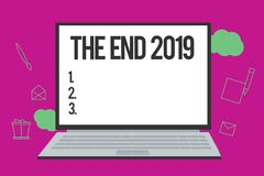 Conceptual hand writing showing The End 2019. Business photo text Happy new year final days of 2018 Resolutions. Celebration stock illustration