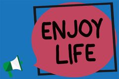 Conceptual hand writing showing Enjoy Life. Business photo showcasing Any thing, place,food or person, that makes you relax and ha. Ppy Megaphone loud screaming royalty free illustration
