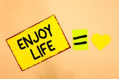 Conceptual hand writing showing Enjoy Life. Business photo text Any thing, place,food or person, that makes you relax and happy Ye. Llow paper reminder equal vector illustration