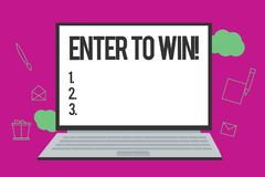 Conceptual hand writing showing Enter To Win. Business photo text Sweepstakes Trying the luck to earn the big prize royalty free illustration
