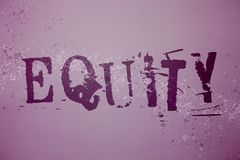 Conceptual hand writing showing Equity. Business photo text Value of a company divided into equal parts owned by shareholders Idea. S messages purple background stock image