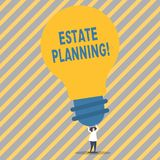 Conceptual hand writing showing Estate Planning. Business photo showcasing Insurance Investment Retirement Plan Mortgage. Conceptual hand writing showing Estate vector illustration