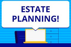 Conceptual hand writing showing Estate Planning. Business photo text Insurance Investment Retirement Plan Mortgage. Conceptual hand writing showing Estate stock illustration