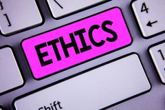 Conceptual hand writing showing Ethics. Business photo showcasing Maintaining equality balance among others having moral principle. S written Key Button Keyboard Stock Images