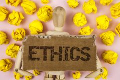 Conceptual hand writing showing Ethics. Business photo showcasing Maintaining equality balance among others having moral principle. S written Tear Cardboard Royalty Free Stock Photo