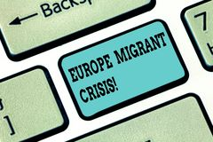 Conceptual hand writing showing Europe Migrant Crisis. Business photo text European refugee crisis from a period stock illustration