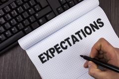Conceptual hand writing showing Expectations. Business photo text Huge sales in equity market assumptions by an expert analyst wri. Tten by Marker in Hand royalty free stock image