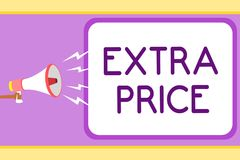 Conceptual hand writing showing Extra Price. Business photo showcasing extra price definition beyond the ordinary large degree Man. Holding megaphone speech royalty free illustration