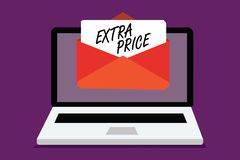 Conceptual hand writing showing Extra Price. Business photo text extra price definition beyond the ordinary large degree Computer. Receiving email important vector illustration