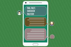 Conceptual hand writing showing Fail Fast Succeed Faster. Business photo showcasing Do not give up keep working on it to. Achieve Mobile Messenger Screen with stock illustration