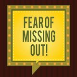 Conceptual hand writing showing Fear Of Missing Out. Business photo showcasing Afraid of losing something or someone. Stressed Square Speech Bubbles Inside royalty free illustration