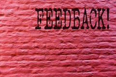 Conceptual hand writing showing Feedback. Business photo text Rating an economical local grocery store Brick Wall art like. Graffiti motivational call written royalty free stock photography