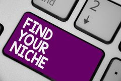 Conceptual hand writing showing Find Your Niche. Business photo showcasing Market study seeking specific potential clients Marketi. Ng Keyboard purple key royalty free stock photo