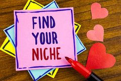 Conceptual hand writing showing Find Your Niche. Business photo text search for your field Decide Choice education Work written on stock photography
