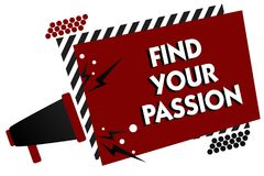 Conceptual hand writing showing Find Your Passion. Business photo text Seek Dreams Find best job or activity do what you love Mult. Iple text pattern red Stock Images