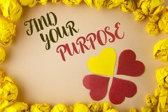 Conceptual hand writing showing Find Your Purpose. Business photo showcasing life goals Career Searching educate knowing possibili Royalty Free Stock Photography