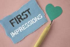 Conceptual hand writing showing First Impressions. Business photo showcasing Encounter presentation performance job interview cour. Tship written Tear Note paper Stock Photography