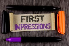 Conceptual hand writing showing First Impressions. Business photo text Encounter presentation performance job interview courtship. Written Cardboard Paper the Stock Photography