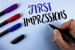 Conceptual hand writing showing First Impressions. Business photo text Encounter presentation performance job interview courtship. Written by Man plain Stock Photography
