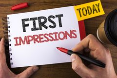 Conceptual hand writing showing First Impressions. Business photo text Encounter presentation performance job interview courtship. Written by Man Notepad Royalty Free Stock Photos