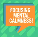 Conceptual hand writing showing Focusing Mental Calmness. Business photo showcasing free the mind from agitation or any. Disturbance Stack of Speech Bubble vector illustration