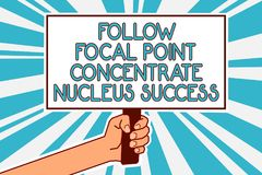 Conceptual hand writing showing Follow Focal Point Concentrate Nucleus Success. Business photo text Concentration look for target. Man hand holding poster stock illustration