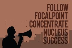 Conceptual hand writing showing Follow Focal Point Concentrate Nucleus Success. Business photo text Concentration look for target. Man holding megaphone royalty free illustration