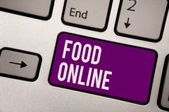 Conceptual hand writing showing Food Online. Business photo showcasing asking for something to eat using phone app or website Keyb. Oard purple key computer royalty free stock photography