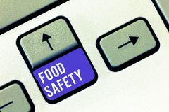 Conceptual hand writing showing Food Safety. Business photo showcasing Conditions and practices that preserve the royalty free stock images
