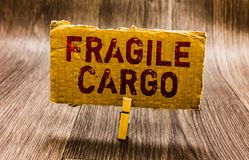 Conceptual hand writing showing Fragile Cargo. Business photo text Breakable Handle with Care Bubble Wrap Glass Hazardous Goods Pa. Per notes reminders question royalty free stock images