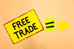 Conceptual hand writing showing Free Trade. Business photo text The ability to buy and sell on your own terms and means Yellow pap. Er reminder equal sign heart royalty free stock photography