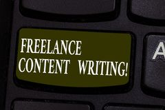 Conceptual hand writing showing Freelance Content Writing. Business photo showcasing online writing linked to web marketing. Campaign Keyboard key Intention to stock photo