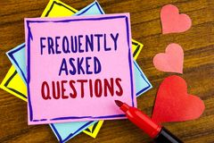 Conceptual hand writing showing Frequently Asked Questions. Business photo text most common inquiries Informations Help Guide writ. Ten Sticky note paper wooden Stock Image