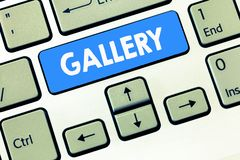 Conceptual hand writing showing Gallery. Business photo text Room Building Display Sale works of art Exhibition Museum wall.  royalty free stock image