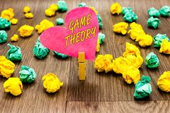 Conceptual hand writing showing Game Theory. Business photo text branch of mathematics concerned with analysis of strategies Cloth royalty free stock photography