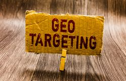 Conceptual hand writing showing Geo Targeting. Business photo text Digital Ads Views IP Address Adwords Campaigns Location Paper n. Otes reminders question mark royalty free stock photo