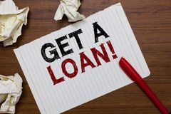 Conceptual hand writing showing Get A Loan. Business photo text mount of money that is borrowed often from bank has paid back Mark royalty free stock photos