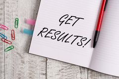 Conceptual hand writing showing Get Results. Business photo text caused or produced by something else Consequence. Conceptual hand writing showing Get Results stock photos