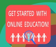 Conceptual hand writing showing Get Started With Online Education. Business photo showcasing Initiate Elearning modern. Learning Magnifying Glass Over Chosen stock illustration