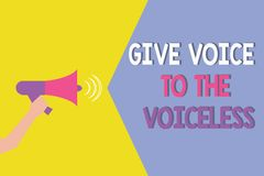 Conceptual hand writing showing Give Voice To The Voiceless. Business photo showcasing Speak out on Behalf Defend the. Vulnerable stock illustration