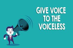 Conceptual hand writing showing Give Voice To The Voiceless. Business photo text Speak out on Behalf Defend the. Vulnerable vector illustration