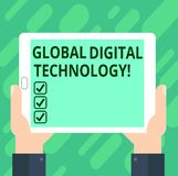 Conceptual hand writing showing Global Digital Technology. Business photo text Digitized information in the form of numeric code. Hu analysis Hand Holding stock illustration