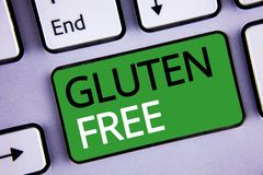 Conceptual hand writing showing Gluten Free. Business photos text Diet with products not containing ingredients like wheat. Conceptual hand writing showing royalty free stock images