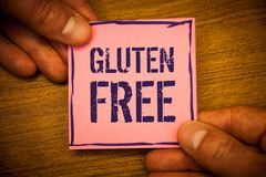Conceptual hand writing showing Gluten Free. Business photos text Diet with products not containing ingredients like wheatMan hold. Conceptual hand writing stock photography