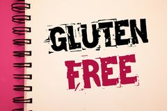 Conceptual hand writing showing Gluten Free. Business photos showcasing Diet with products not containing ingredients like wheatNo. Conceptual hand writing stock image